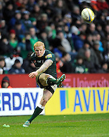 Tom Homer of London Irish takes a penalty kick during the Aviva Premiership match between London Irish and Saracens at the Madejski Stadium on Saturday 9th February 2013 (Photo by Rob Munro)