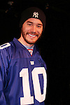 Tom Pelphrey (wearing New York Giants - Eli Manning jersey) acts in the Apothecary Theater Company's production of An Evening of Don Nigro on Dec. 14 running until Dec. 20 at Theatre 54, New York City, NY. Tom Pelphrey stars with Kate Russell (was on AMC) in two acts  - 1) Wonders of the Invisible World Revealed and 2) Fair Rosamund and Her Murderer. (Photo by Sue Coflin/Max Photos)