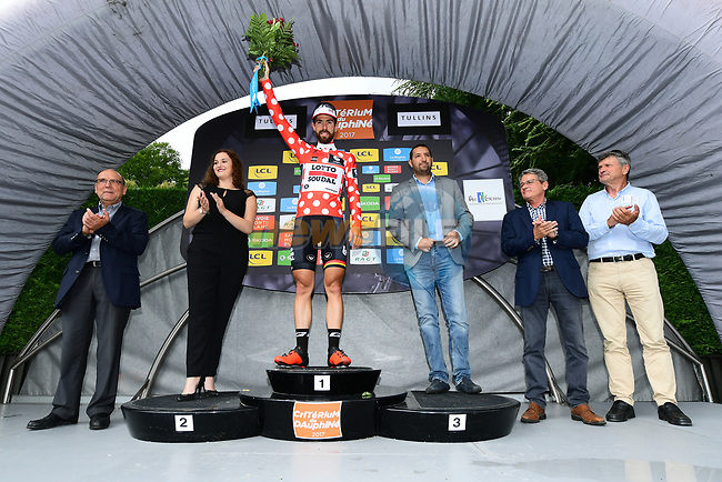 Race leader Thomas De Gendt (BEL) Lotto-Soudal retains the mountains polka dot jersey at the end of Stage 3 of the Criterium du Dauphine 2017, running 184km from Chambon-sur-Lignon to Tullins, France. 6th June 2017. <br /> Picture: ASO/A.Broadway | Cyclefile<br /> <br /> <br /> All photos usage must carry mandatory copyright credit (&copy; Cyclefile | ASO/A.Broadway)