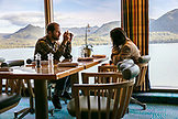CANADA, Vancouver, British Columbia, passengers enjoy a meal while cruising the Discovery Passage in the Inside Passage, Holland America Cruise Ship the Oosterdam