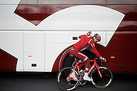 Team Katusha rider before recon of the 114th Paris - Roubaix 2016