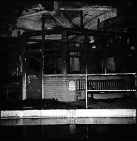 BNPS.co.uk (01202 558833)<br /> Pic: BournemouthEcho/BNPS<br /> <br /> The interior of the bus station after the fire on the 25th July 1976.<br /> <br /> A bus enthusiast who once ran into a burning building to rescue a double-decker has saved it again after buying it for a restoration project 40 years later.<br /> <br /> Trevor Shore was an 18-year-old conductor when he repeatedly dashed into a blazing bus station in 1976 to drive three of the vehicles to safety in the nick of time.<br /> <br /> Forty years on and Trevor, 58, from Poole, Dorset, has saved one of the three Bristol FLF Lodekka double-deckers from leaving the country after buying it for &pound;13,000.