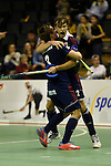 Berlin, Germany, January 31: Marco Miltkau #22 of Rot-Weiss Koeln is congratulated by Mats Grambusch after scoring the winning goal during the 1. Bundesliga Herren Hallensaison 2014/15 semi-final hockey match between Rot-Weiss Koeln (dark blue) and Club an der Alster (red) on January 31, 2015 at the Final Four tournament at Max-Schmeling-Halle in Berlin, Germany. Final score 4-3 (2-2). (Photo by Dirk Markgraf / www.265-images.com) *** Local caption ***