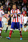 Atletico de Madrid´s Mario Mandzukic thanks the supporters during 2014-15 La Liga match between Atletico de Madrid and Valencia CF at Vicente Calderon stadium in Madrid, Spain. March 08, 2015. (ALTERPHOTOS/Luis Fernandez)