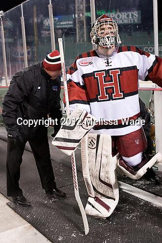 Ted Donato (Harvard - Head Coach), Steve Michalek (Harvard - 34) - The Union College Dutchmen defeated the Harvard University Crimson 2-0 on Friday, January 13, 2012, at Fenway Park in Boston, Massachusetts.