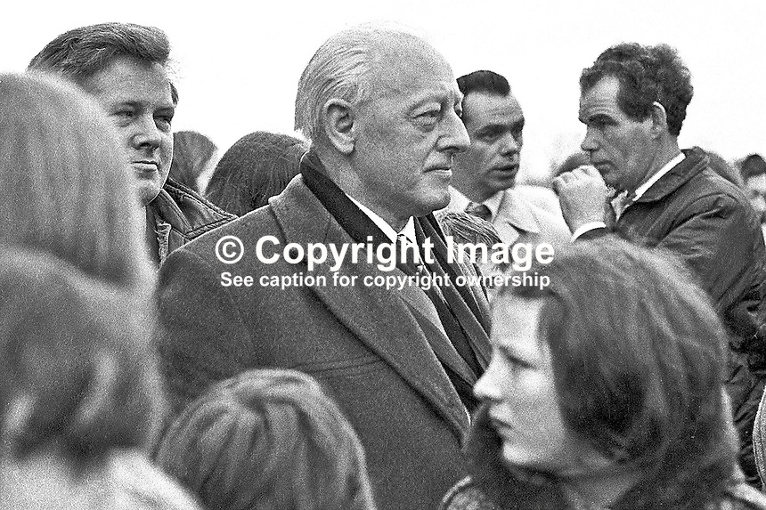 Kevin Agnew, prominent member, Provisional Sinn Fein, Maghera, Co Londonderry, N Ireland, centre of picture, attending the first anniversary on 28 January 1973 of  Bloody Sunday. The controversial shooting dead of 13 people by the British Army's Parachute Regiment occurred during a Civil Rights March. A fourteenth died several months later. The British Army have always maintained that they did not fire first. 197301280039d<br /> <br /> Copyright Image from Victor Patterson, 54 Dorchester Park, Belfast, UK, BT9 6RJ<br /> <br /> t: +44 28 90661296<br /> m: +44 7802 353836<br /> vm: +44 20 88167153<br /> e1: victorpatterson@me.com<br /> e2: victorpatterson@gmail.com<br /> <br /> For my Terms and Conditions of Use go to www.victorpatterson.com