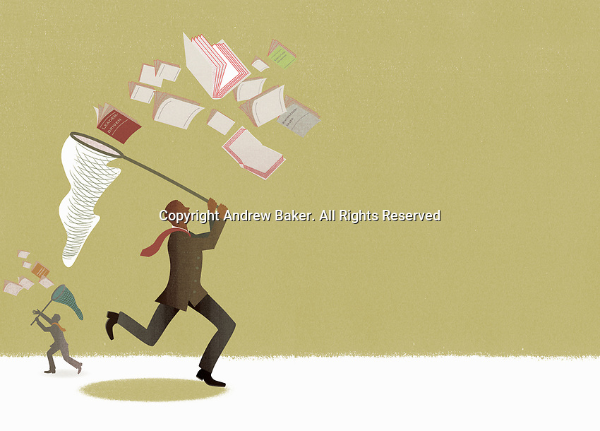Businessmen chasing business management strategy documents with butterfly nets