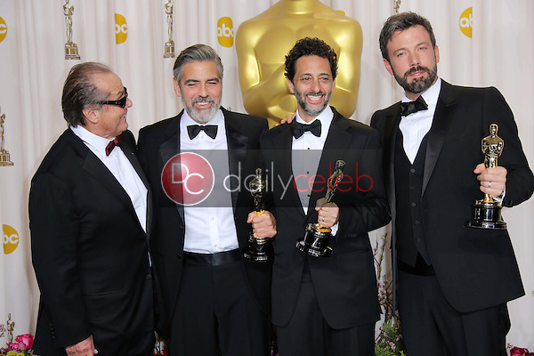 Jack Nicholson, George Clooney, Grant Heslov, Ben Affleck <br /> at the 85th Annual Academy Awards Press Room, Dolby Theater, Hollywood, CA 02-24-13<br /> David Edwards/DailyCeleb.com 818-249-4998