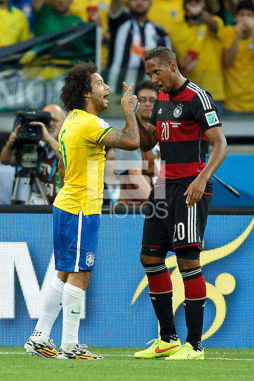 Marcelo of Brazil argues with Jerome Boateng of Germany