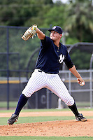 September 30, 2009:  Pitcher Gavin Brooks of the New York Yankees organization delivers a pitch during an instructional league game at the Yankees Training Complex in Tampa, FL.  Brooks was selected in the 9th round of the 2009 MLB Draft out of UCLA.  Photo by:  Mark LoMoglio/Four Seam Images