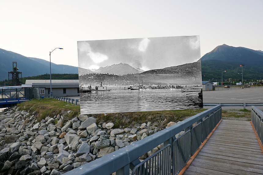 Photo Station SK-04: Skagway. View north from the waterfront area of Skagway, Alaska. Historic photo taken c. August 1897 by L.V. Winter and E.P. Pond, (Klondike Gold Rush National Historical Park, archive # 55745a).