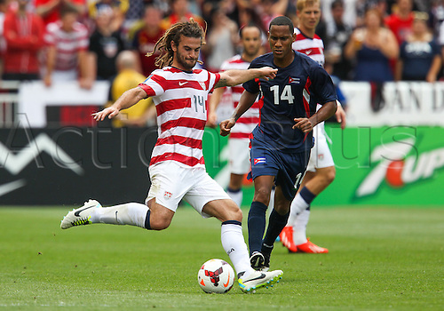 13.07.2013. Sandy, Utah, USA. US Men's National midfielder Kyle Beckerman (14) during the CONCACAF Gold Cup soccer match between USA Men's National team and Cuba at Rio Tinto Stadium in Sandy, UT. USA.