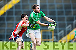 Rathmore Cathal Murphy tackle Aidan Breen St Kierans at the SFC clash in Fitzgerald Stadium on Sunday