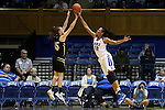 05 November 2015: Duke's Azura Stevens (11) blocks a shot by Pfeiffer's Meg Pritchard (AUS) (35). The Duke University Blue Devils hosted the Pfeiffer University Falcons at Cameron Indoor Stadium in Durham, North Carolina in a 2015-16 NCAA Women's Basketball Exhibition game. Duke won the game 113-36.