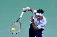 NEW YORK, USA - SEPT 09, Kei Nishikori of Japan serves to Stan Wawrinka of Switzerland during their Men's Singles Semifinal Match of the 2016 US Open at the USTA Billie Jean King National Tennis Center on September 9, 2016 in New York.  photo by VIEWpress