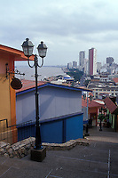 Downtown Guayaquil from the Las Penas restored historic district on Cerro Santa Ana, Guayaquil, Ecuador