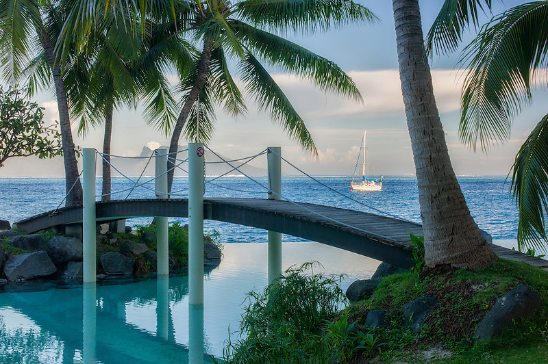 Bridge over infinity pool at the Intercontinental Tahiti hotel. Tahiti. French Polynesia
