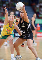02.11.2008 Silver Ferns Liana Barrett-Chase and Australia's Julie Prendergast in action during the Holden International Netball test match between the Silver Ferns and Australia played at Brisbane Entertainment Centre in Brisbane Australia. Mandatory Photo Credit ©Michael Bradley.