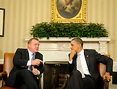 United States President Barack Obama and Prime Minister Lars Lokke Rasmussen of Denmark deliver statements to the press after a meeting in the Oval Office of the White House, on Monday, March 14, 2011, in Washington, DC. .Credit: Leslie E. Kossoff / Pool via CNP