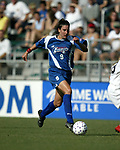 Birgit Prinz charges up the field with the ball at SAS Stadium in Cary, North Carolina on 8/9/03 during a game between the Carolina Courage and Philadelphia Charge. The game ended in a 1-1 tie.