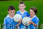 Tom Costello, Gearoid O'connor and Jayden Foley at the Firies GAA football academy in Farranfore on Friday evening