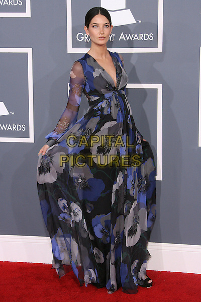 Lily Aldridge.The 54th Annual GRAMMY Awards held at the Staples Center, Los Angeles, California, USA..February 12th, 2012.full length blue grey gray sheer floral print dress  pregnant  .CAP/ADM.©AdMedia/Capital Pictures.