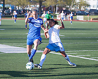Boston Breakers defender Julie King (8) and Chicago Red Stars forward Maribel Domingues (9) compete for a ball near the sideline.  In a National Women's Soccer League Elite (NWSL) match, the Boston Breakers defeated  Chicago Red Stars 4-1, at the Dilboy Stadium on May 4, 2013.