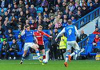 Sheffield Wednesday's midfielder Adam Reach (20) nips it in front of Barnsley's defender Jason McCarthy (2) during the Sky Bet Championship match between Sheff Wednesday and Barnsley at Hillsborough, Sheffield, England on 28 October 2017. Photo by Stephen Buckley / PRiME Media Images.