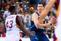 Spain's basketball player Victor Claver and Venezuela's basketball player Nestor Colmenares during the  match of the preparation for the Rio Olympic Game at Madrid Arena. July 23, 2016. (ALTERPHOTOS/BorjaB.Hojas) /NORTEPHOTO.COM