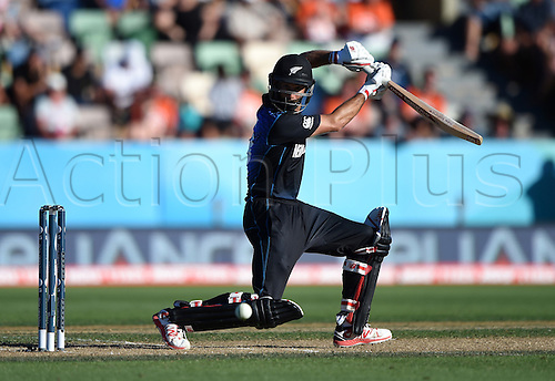 08.03.2015. Napier, New Zealand.  Grant Elliott batting during the ICC Cricket World Cup match between New Zealand and Afghanistan at McLean Park in Napier, New Zealand. Sunday 8 March 2015.