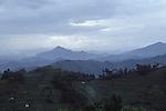 Atmospheric scenery near to Lake Kivu on the Rwandan border with the Central Democratic Republic of Congo (CAR).