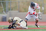 Palos Verdes, CA 05/07/11 - unidentified Oak Park player and Zach Henkhaus (Palos Verdes #12) in action during the CIF Southern Section North Division Semifinal game between Oak Park and Palos Verdes.