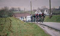this elite group of chasers going into the finale is impressive: Greg Van Avermaet (BEL/BMC), Tiesj Benoot (BEL/Lotto-Soudal), Gianni Moscon (ITA/SKY), Alejandro Valverde (ESP/Movistar team),  Zdenek Stybar (CZE/Quick-Step Floors), Timo Roosen (NED/LottoNL-Jumbo) & (hidden in the group) Niki Terpstra (NED/Quick-Step Floors)<br /> <br /> 73rd Dwars Door Vlaanderen 2018 (1.UWT)<br /> Roeselare - Waregem (BEL): 180km