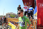 Green Jersey Sam Bennett (IRL) Bora-Hansgrohe at sign on before the start of Stage 5 of La Vuelta 2019 running 170.7km from L'Eliana to Observatorio Astrofisico de Javalambre, Spain. 28th August 2019.<br /> Picture: Eoin Clarke | Cyclefile<br /> <br /> All photos usage must carry mandatory copyright credit (© Cyclefile | Eoin Clarke)