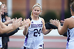 Erin Ilchuk (24) of the High Point Panthers high fives her teammates during player introductions prior to the match against the North Carolina Tar Heels at Vert Track, Soccer & Lacrosse Stadium on February 16, 2018 in High Point, North Carolina.  The Tar Heels defeated the Panthers 14-10.  (Brian Westerholt/Sports On Film)