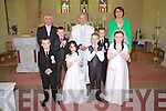 Students from  Loughfrouder NS who made their First Holy Communion last Saturday in Knocknagoshal, pictured front l-r: Jack McElligott, Kelly Anne Nix, Eoin McSweeney, Katelyn Curtin. B l-r: Mícheál Herlihy, Sean Keane, Fr Mangan, Cathal McElligott and Elizabeth Lane.
