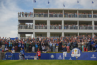 Rickie Fowler (Team USA) watches his tee shot on 17 during Sunday's singles of the 2018 Ryder Cup, Le Golf National, Guyancourt, France. 9/30/2018.<br /> Picture: Golffile | Ken Murray<br /> <br /> <br /> All photo usage must carry mandatory copyright credit (© Golffile | Ken Murray)