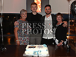 Sean Leahy and Niall Gates celebrating their joint 21st birthdays in Brú with mothers Cathy and Catriona Photo:Colin Bell/pressphotos.ie