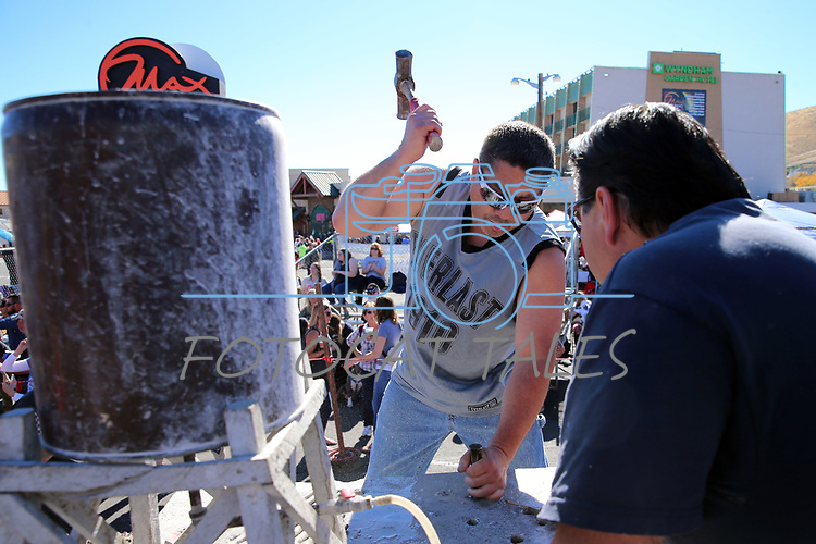 Tobin Rupert, of Carson City, competes in the 42nd Annual Nevada Day World Championship Single Jack Drilling Contest in the Max Casino parking lot in Carson City, Nev., on Saturday, October 28, 2017. <br /> Photo by Lance Iversen/Nevada Momentum