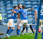St Johnstone v Aberdeen...13.04.14    William Hill Scottish Cup Semi-Final, Ibrox<br /> Stevie May celebrates his second goal with Michael O'Halloran and David Wotherspoon<br /> Picture by Graeme Hart.<br /> Copyright Perthshire Picture Agency<br /> Tel: 01738 623350  Mobile: 07990 594431