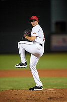 Scottsdale Scorpions relief pitcher Brandon White (18), of the Atlanta Braves organization, during an Arizona Fall League game against the Glendale Desert Dogs on September 20, 2019 at Salt River Fields at Talking Stick in Scottsdale, Arizona. Scottsdale defeated Glendale 3-2. (Zachary Lucy/Four Seam Images)