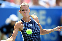 Washington, DC - August 4, 2019: Camila Giorgi (ITA) eyes the ball during return against Jessica Pegula (USA) NOT PICTURED during the WTA Citi Open Woman's Finals at Rock Creek Tennis Center, in Washington D.C. (Photo by Philip Peters/Media Images International)