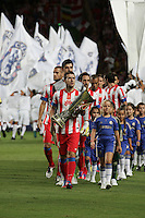 Gabi (Atletico Madrid) con la coppa Europa League