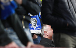Ray Wilkins scarf worn by a Chelsea supporter during the premier league match at the Turf Moor Stadium, Burnley. Picture date 19th April 2018. Picture credit should read: Simon Bellis/Sportimage