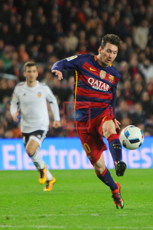 Copa del Rey 2015/2016 - 1/2 Final - Ida.<br /> FC Barcelona vs Valencia CF: 7-0.<br /> Lionel Messi.