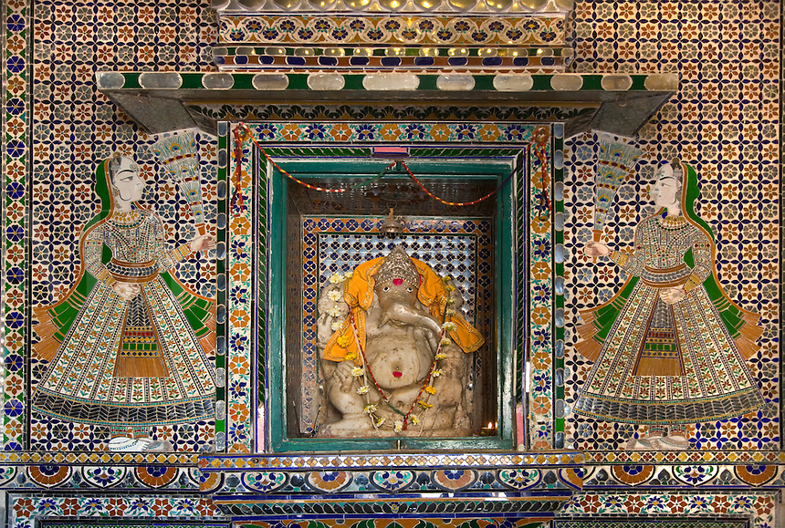 Sculpture of the elephant deity GANESHA inside the CITY PALACE of UDAIPUR - RAJASTHAN, INDIA