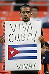 """11 October 2008: A Cuba fan holds a sign reading """"Viva Cuba!"""" The United States Men's National Team defeated Cuba Men's National Team 6-1 at RFK Stadium in Washington, DC in a CONCACAF semifinal round FIFA 2010 South Africa World Cup Qualifier."""