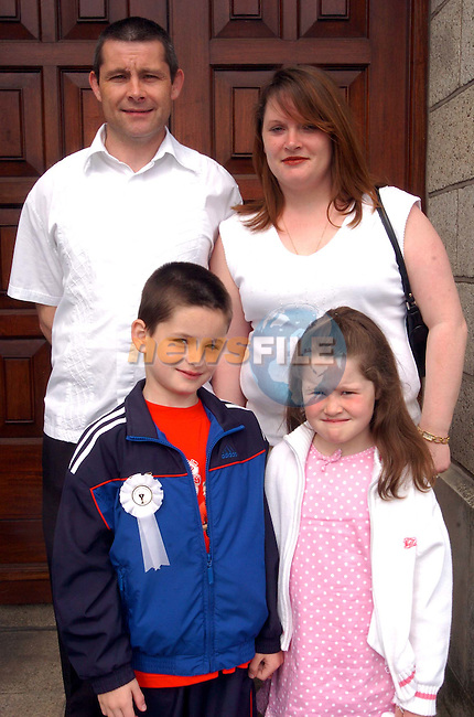 Joshua Leslie with his sister Lauren parents James and Joan.Picture Fran Caffrey Newsfile