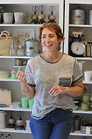 NWA Democrat-Gazette/ANDY SHUPE<br /> Natalie Freeman, owner of the newly opened Freckled Hen Farmhouse, speaks Thursday, May 25, 2017, inside her homewares store in south Fayetteville that she calls a modern general store.