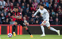 Jordon Ibe of AFC Bournemouth & Jesse Lingard of Man Utd during the Premier League match between Bournemouth and Manchester United at the Goldsands Stadium, Bournemouth, England on 18 April 2018. Photo by Andy Rowland.